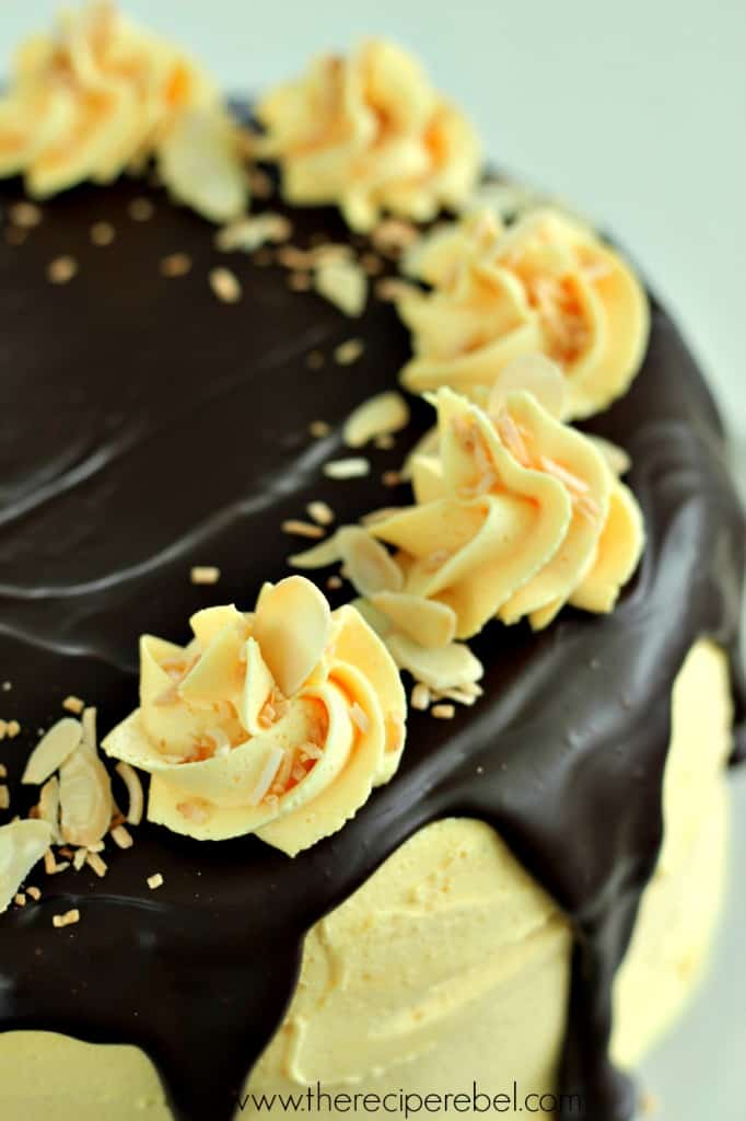 close up image of top of cake including chocolate ganache topped with frosting swirls