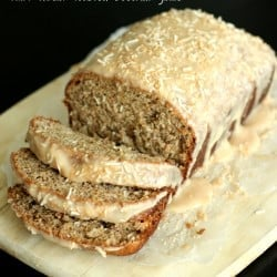 Toasted Coconut Banana Bread with Vanilla Toasted Coconut Glaze