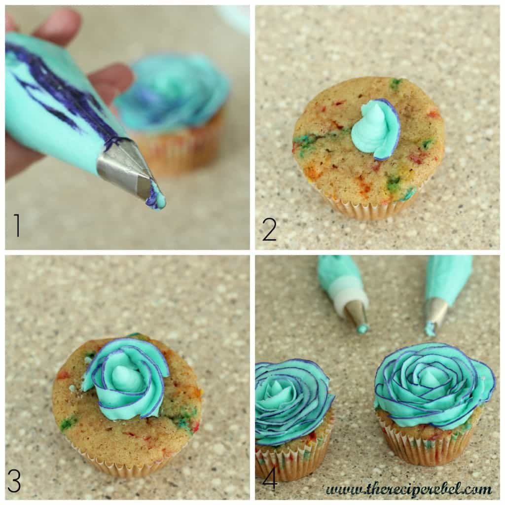 step by step photo grid showing how to make two tone buttercream roses