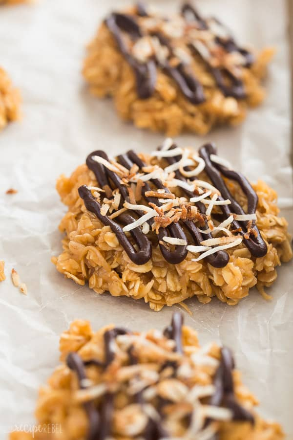 no bake cookies samoa style up close with chocolate drizzle and toasted coconut