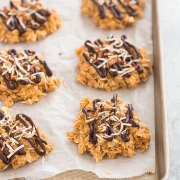 no bake samoa cookies on pan