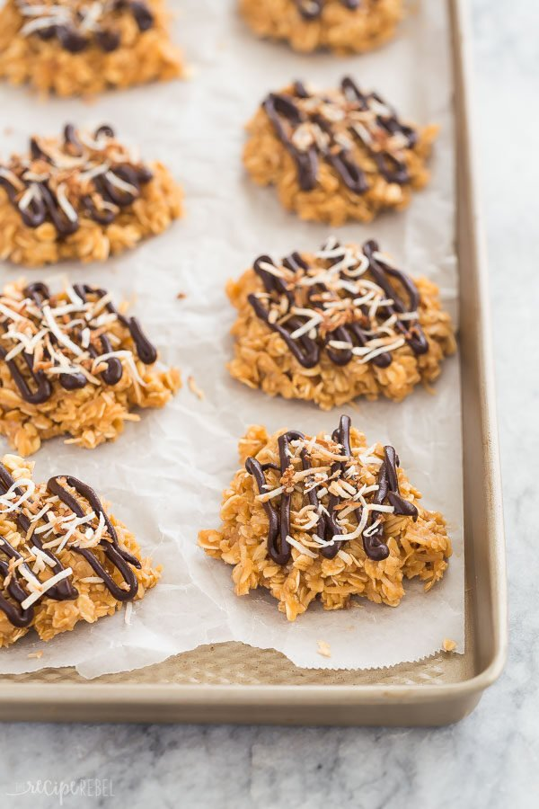 no bake samoa cookies on pan