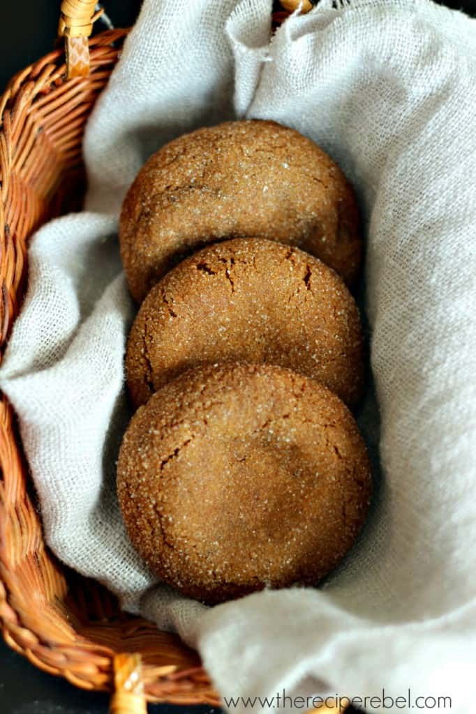 white chocolate truffle filled gingersnaps in basket on grey towel