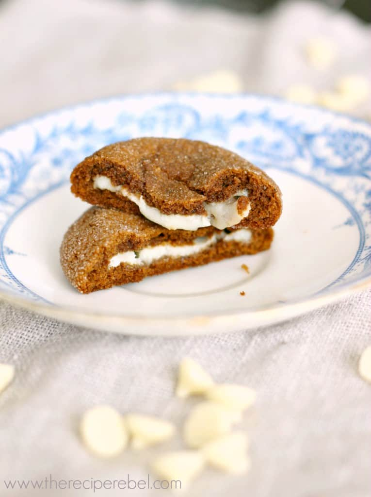 White Chocolate Truffle Stuffed Gingersnaps | www.thereciperebel.com