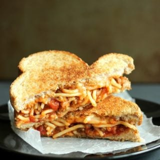 Spaghetti and Garlic Toast Grilled Cheese
