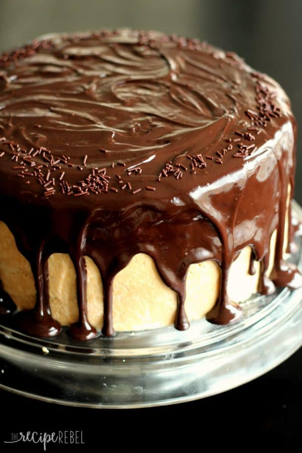 whole chocolate peanut butter cake with peanut butter frosting and chocolate ganache