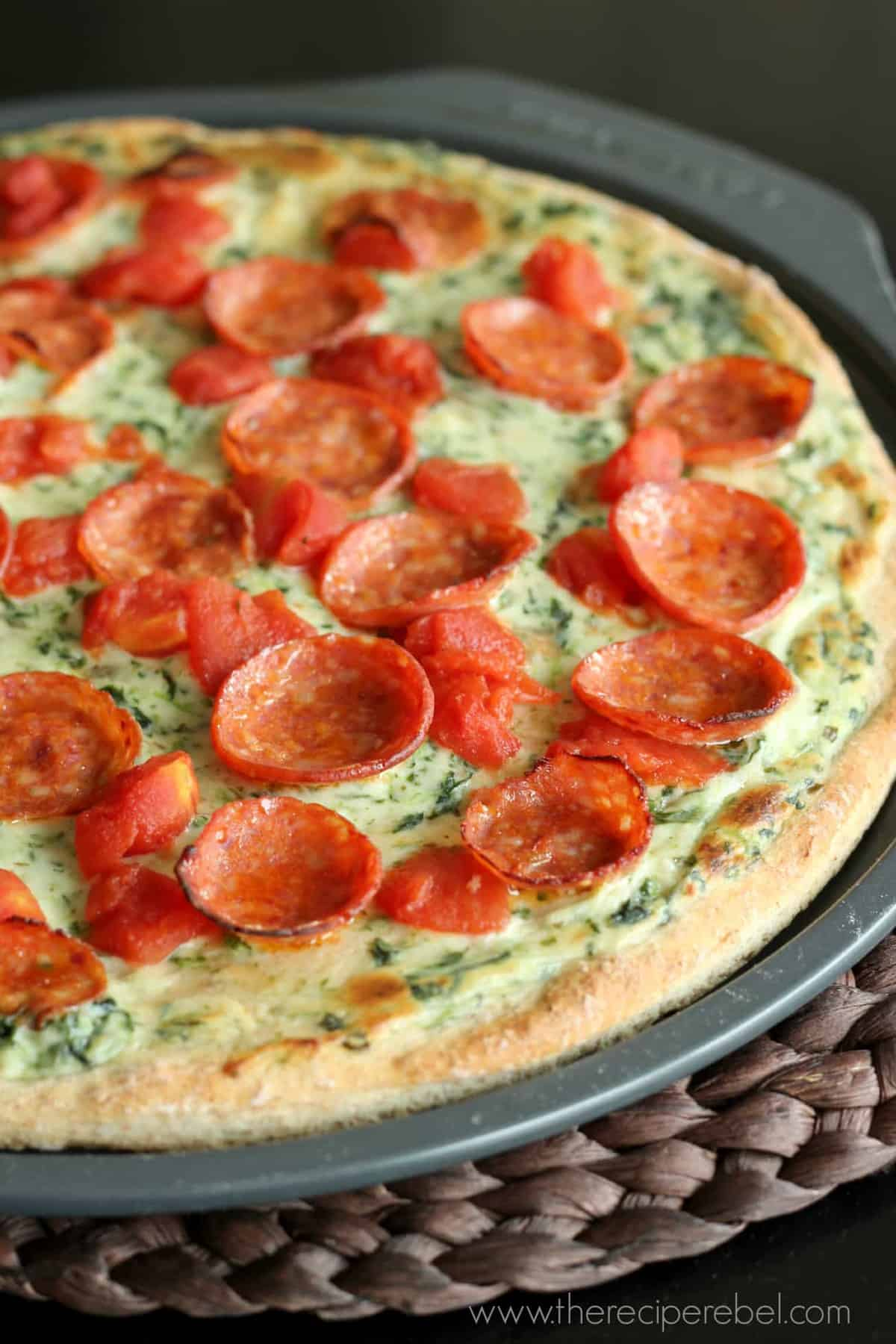 Pepperoni Florentine Pizza | www.thereciperebel.com
