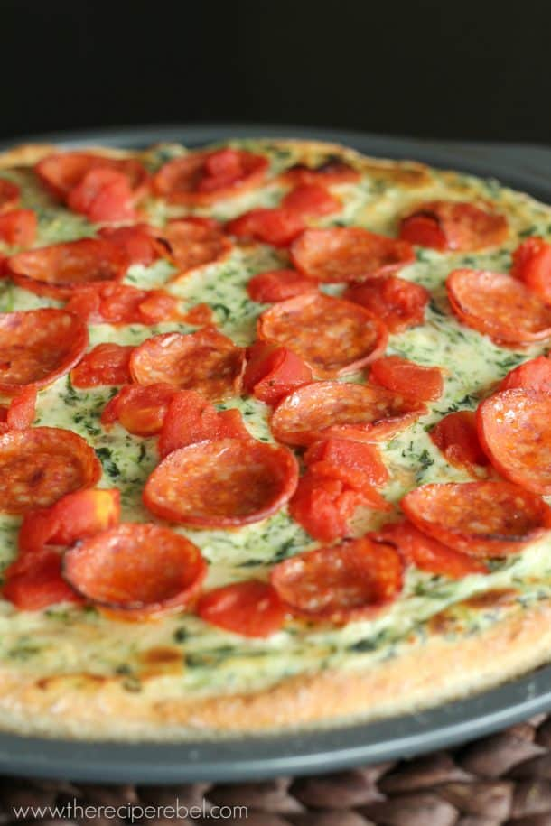 close up of pepperoni florentine pizza on non stick pizza pan