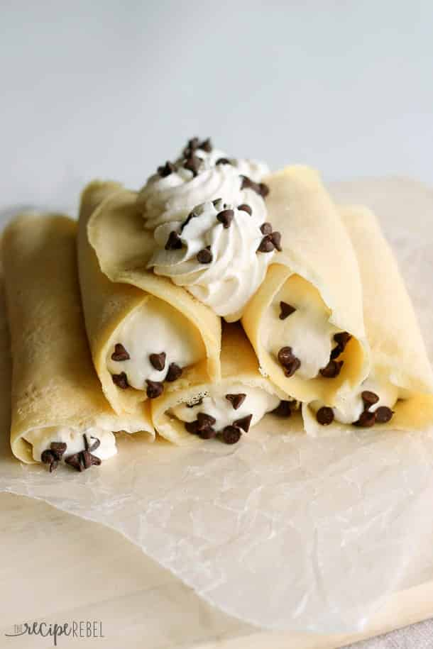 crepes rolled up with sweet ricotta filling and mini chocolate chips