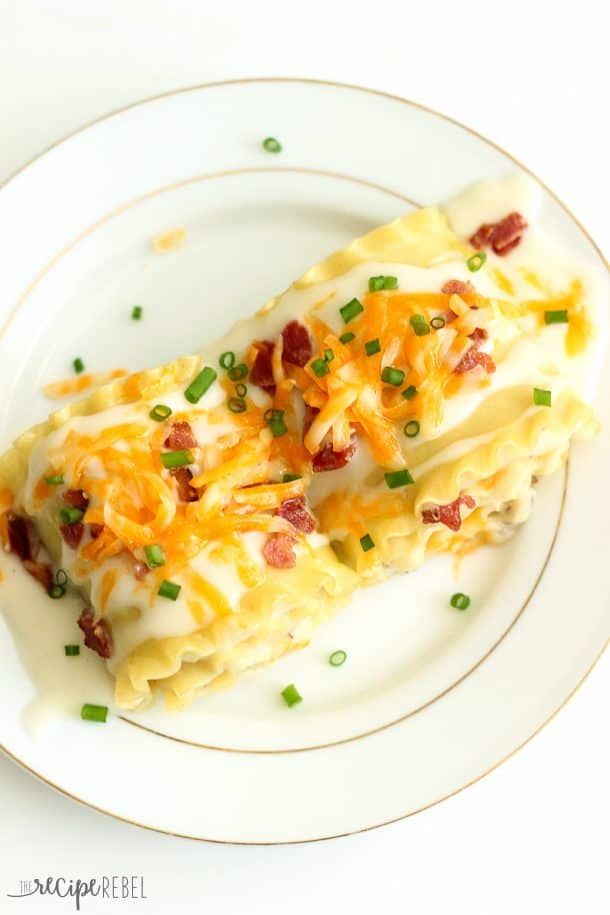 Perogy Rolls: Creamy mashed potatoes, cheddar and bacon all rolled up in lasagna and topped with Bechamel sauce, more cheddar, bacon and green onions -- an easier way to enjoy homemade perogy flavor! www.thereciperebel.com