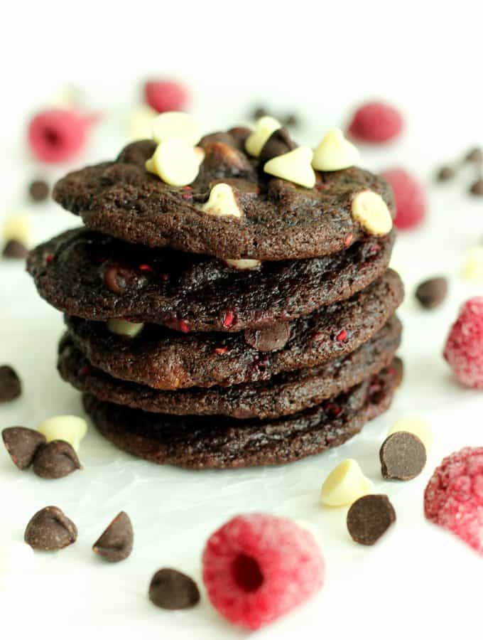 Triple Chocolate Raspberry Cookies: the BEST cookies I've ever eaten! The perfect combination of fruit and chocolate. www.thereciperebel.com