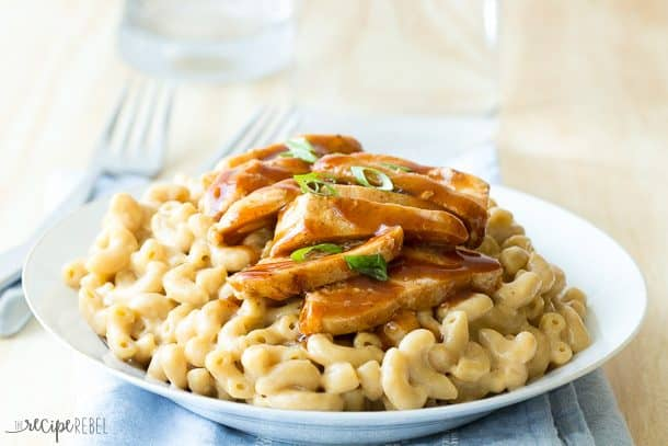 Two favorites in one! This BBQ Chicken Mac and Cheese can be made all in one pot for an easy weeknight meal ready in 30 minutes or less! www.thereciperebel.com