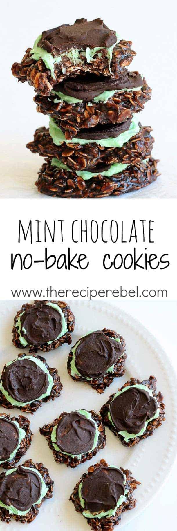 Fudgy Mint Chocolate No-Bake Cookies - The Recipe Rebel