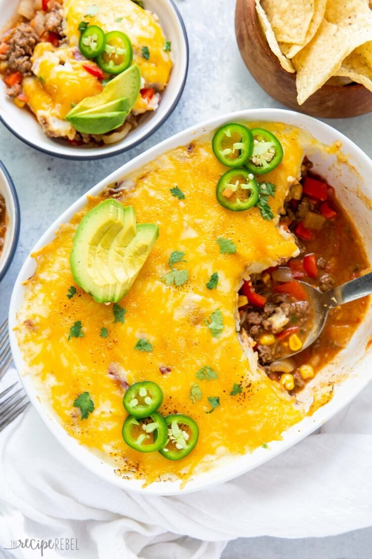 overhead image of mexican shepherds pie in casserole dish