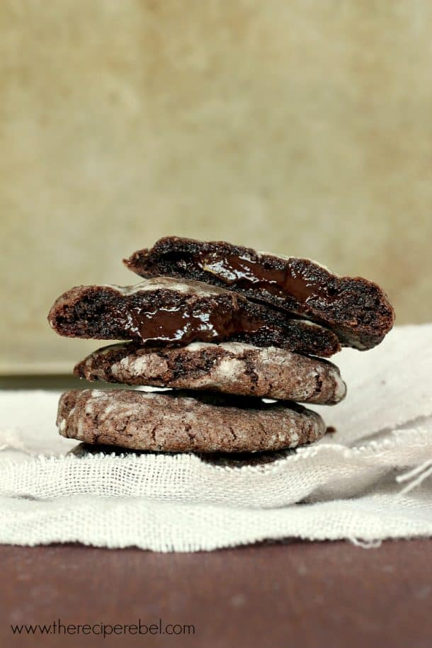 Mint Chocolate Truffle Stuffed Cookies www.thereciperebel.com