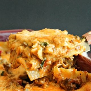 Creamy Chipotle and Italian Sausage Lasagna: This twist on traditional lasagna has italian sausage (mild or spicy!) and a creamy chipotle sauce! It also makes 2, so you can give one to a friend or save one in the freezer for later! www.thereciperebel.com