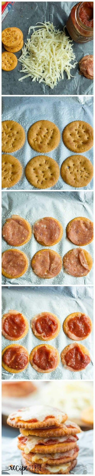 Pizza Crackers: The easiest 4-ingredient snack, appetizer or lunch for the kids! Easily change them to your tastes. Less than 10 minutes start to finish! www.thereciperebel.com