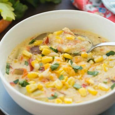 This Quinoa Corn Chowder is an easy meal in one! It's thick, creamy, hearty and packed with protein and fiber!