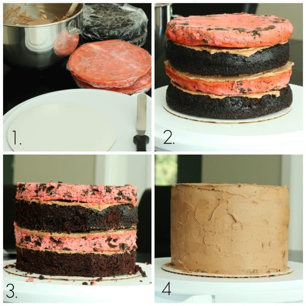 Raspberry Oreo Mocha Cheesecake Cake collage