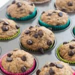 Super moist Banana Chocolate Chip Zucchini Muffins made healthier with whole wheat flour and applesauce! Perfect for that summer zucchini and a great back to school snack! Includes step by step recipe video. | healthy snack recipe | healthy recipe | low calorie | low fat | zucchini recipe | back to school