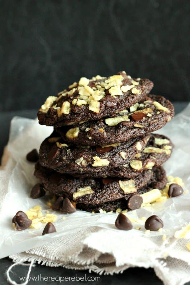 double chocolate potato chip cookies 1