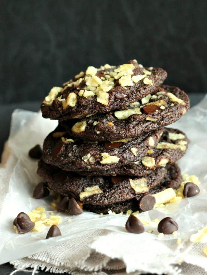 double chocolate potato chip cookies 1