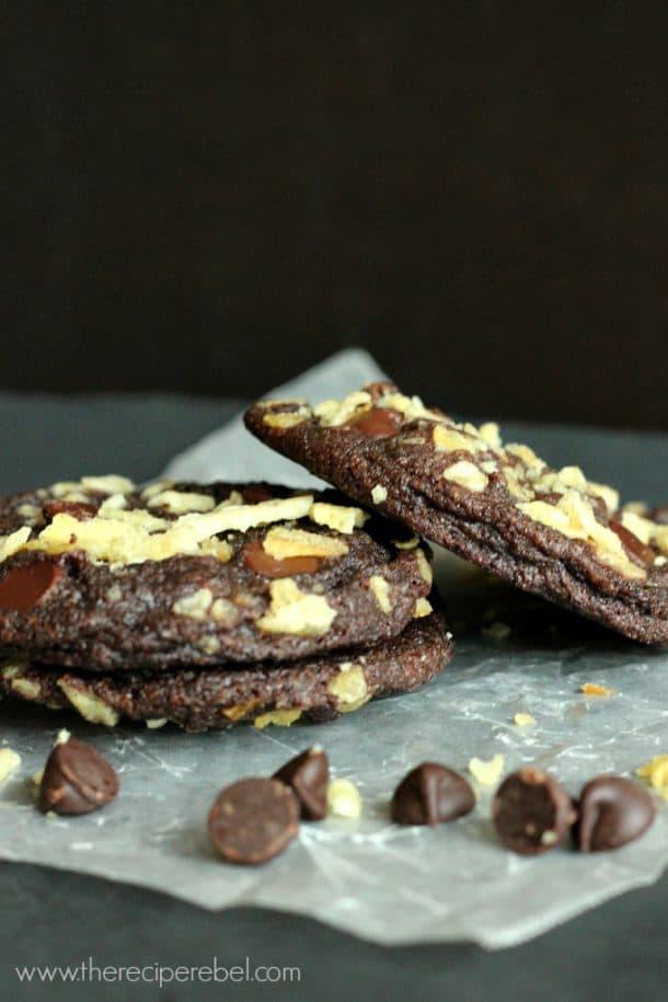 double chocolate potato chip cookies 2