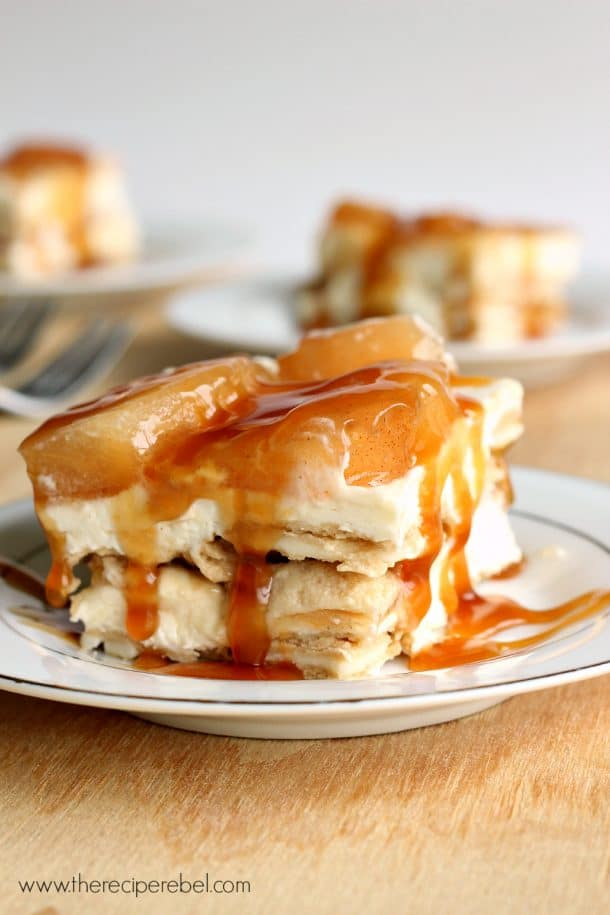 caramel apple oreo icebox cake on white plate with more pieces in the background