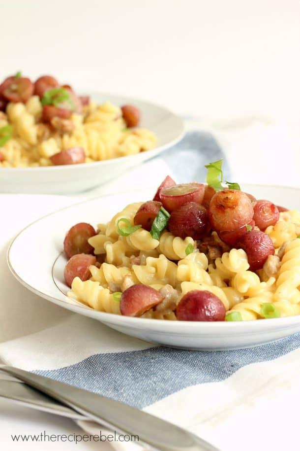 Creamy Rotini with Italian Sausage and Roasted Grapes | The Recipe Rebel