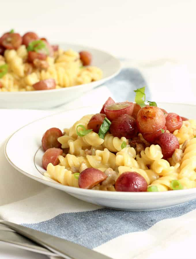 Creamy Rotini with Italian Sausage and Roasted Grapes