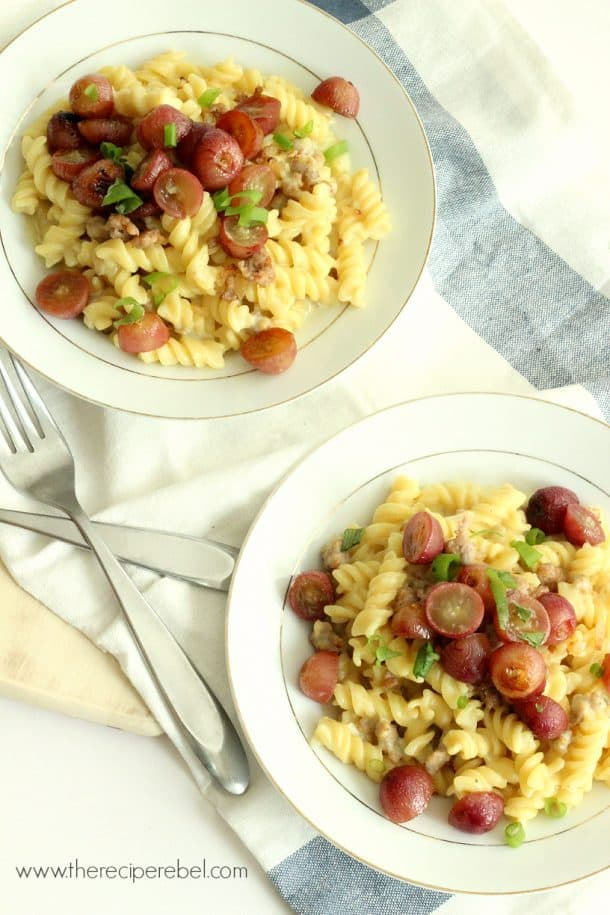 Creamy Rotini with Italian Sausage and Roasted Grapes 3