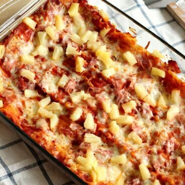 Hawaiian Lasagna -- a super easy, 5 ingredient pasta dish that's perfect for weeknights!