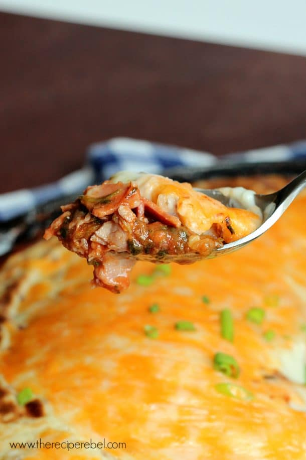 Meat Lovers' Shepherd's Pie: creamy garlic mashed potatoes and cheese top a seriously meaty filling. Perfect for game day or a chilly evening!
