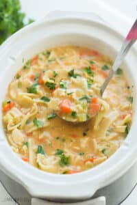 creamy chicken noodle soup in slow cooker
