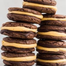 two tall stacks of double chocolate pumpkin oreos