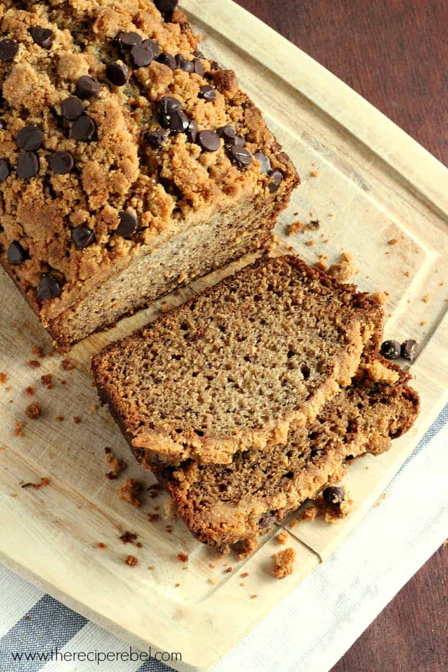 Peanut Butter Chocolate Chip Streusel Banana Bread - The Recipe Rebel