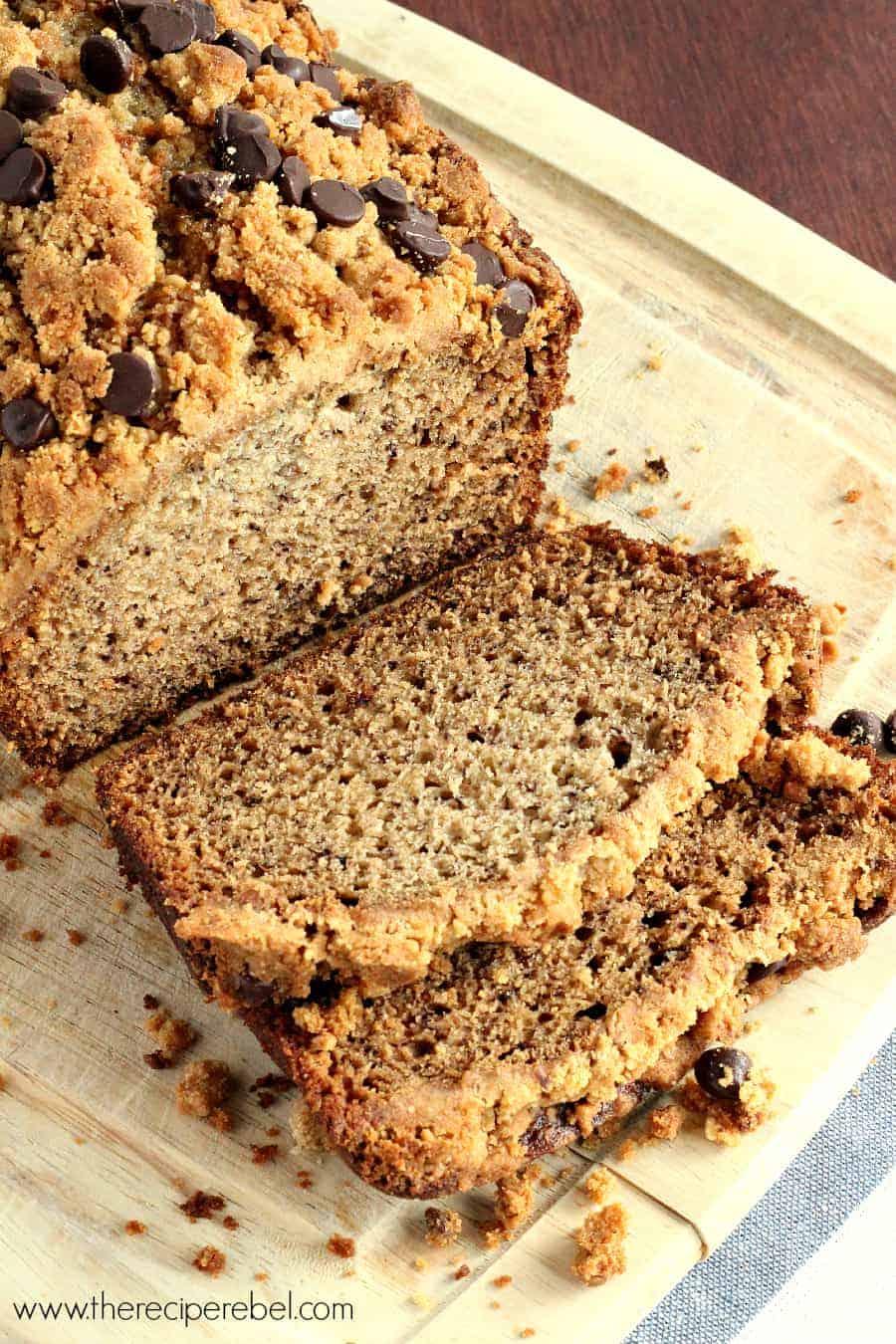 Peanut Butter Chocolate Chip Streusel Banana Bread - The Recipe Rebel