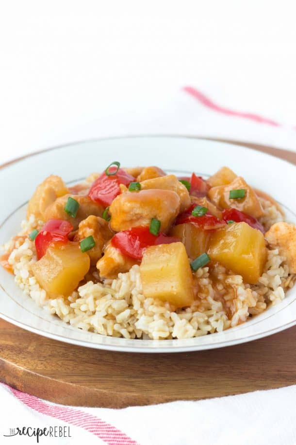{Slow Cooker} Sweet and Sour Chicken: the perfect crockpot meal to come home to after a long day! Great served over rice or noodles. www.thereciperebel.com