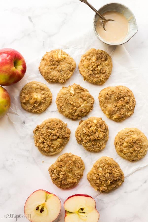 overhead image of apple crisp cookies on white background