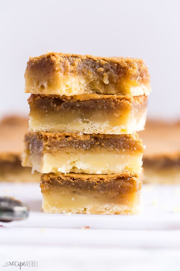 butter tart squares stack of four squares close up