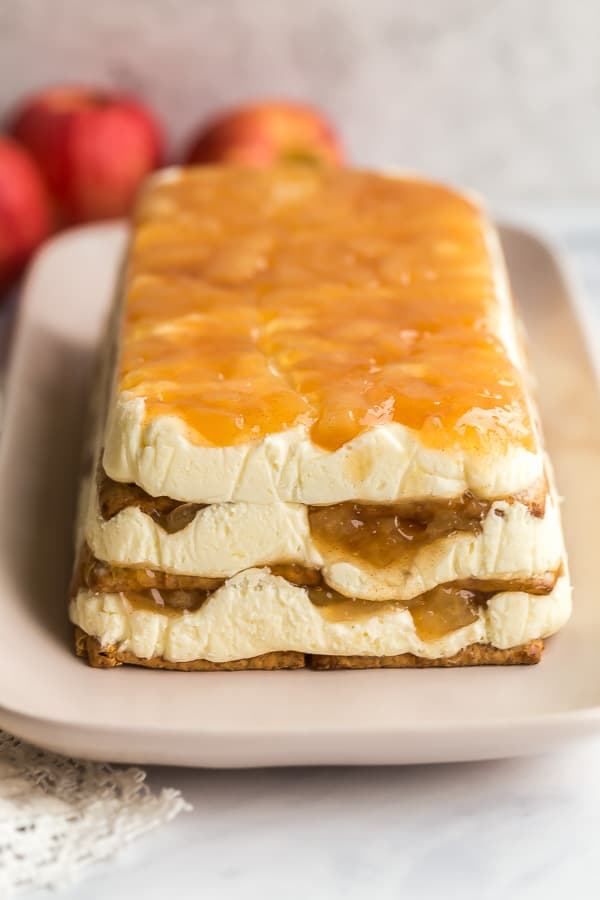 caramel apple icebox cake on pink platter