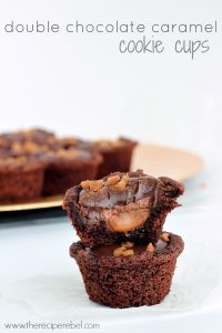 Double Chocolate Caramel Cookie Cups: super easy cake mix cookie cups stuffed with caramel, topped with a chocolate truffle and Skor bits! www.thereciperebel.com