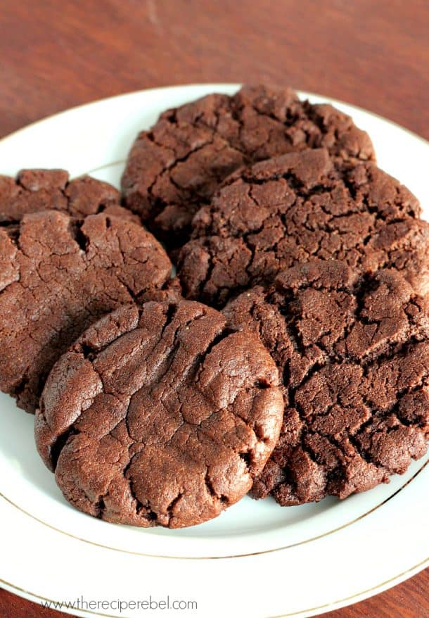 chocolate peanut butter cookies two ways on white plate
