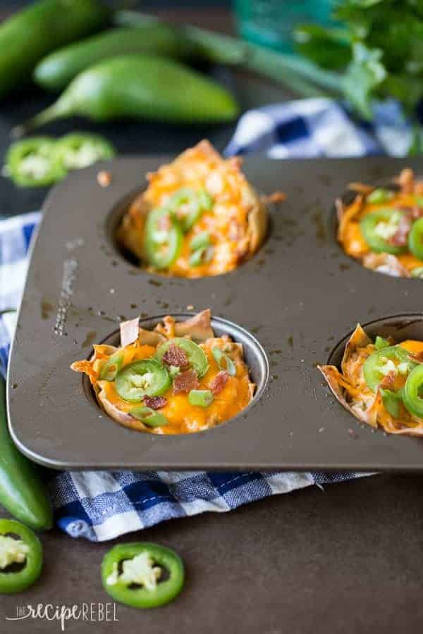 Creamy, spicy Jalapeno Poppers loaded with bacon, chicken and barbecue sauce, stuffed into a crispy wonton cup!