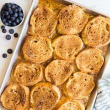 overnight caramel french toast on pan