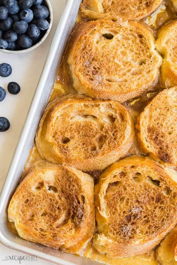 baked french toast overhead close up on sheet pan