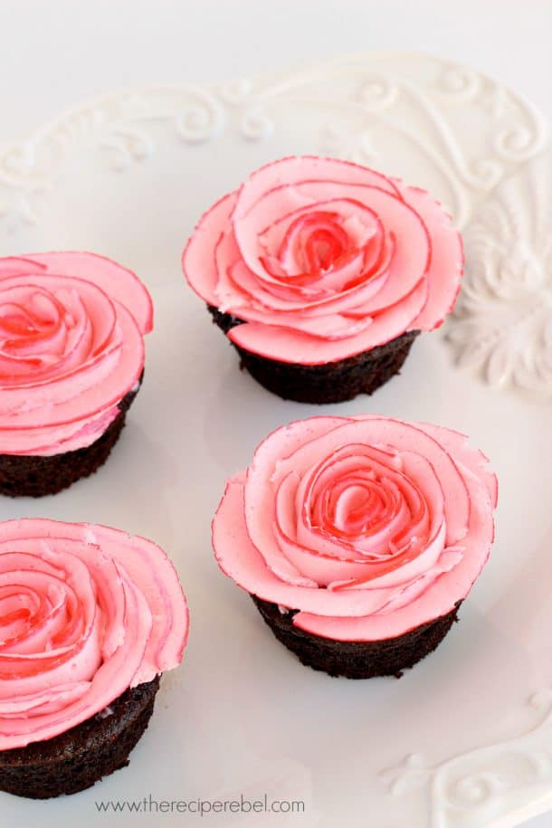 Fudgy Chocolate Cupcakes with Two Tone Roses www.thereciperebel.com 3