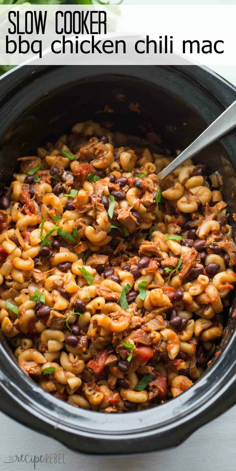 Slow Cooker BBQ Chicken Chili Mac is a hearty one pot pasta meal that cooks completely in the crockpot!