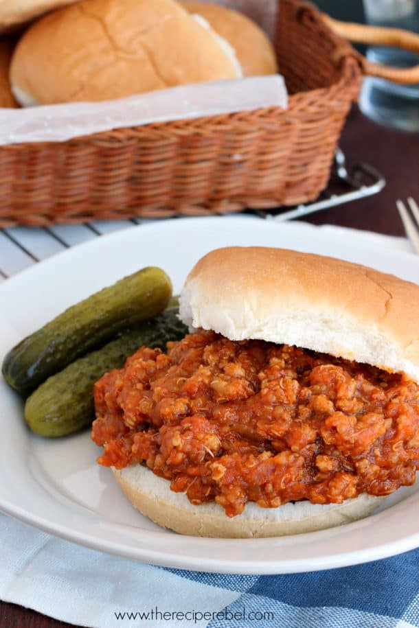 {Slow Cooker} BBQ Chicken Quinoa Sloppy Joes: a lighter, healthier version of an old favorite. Packed with protein! www.thereciperebel.com