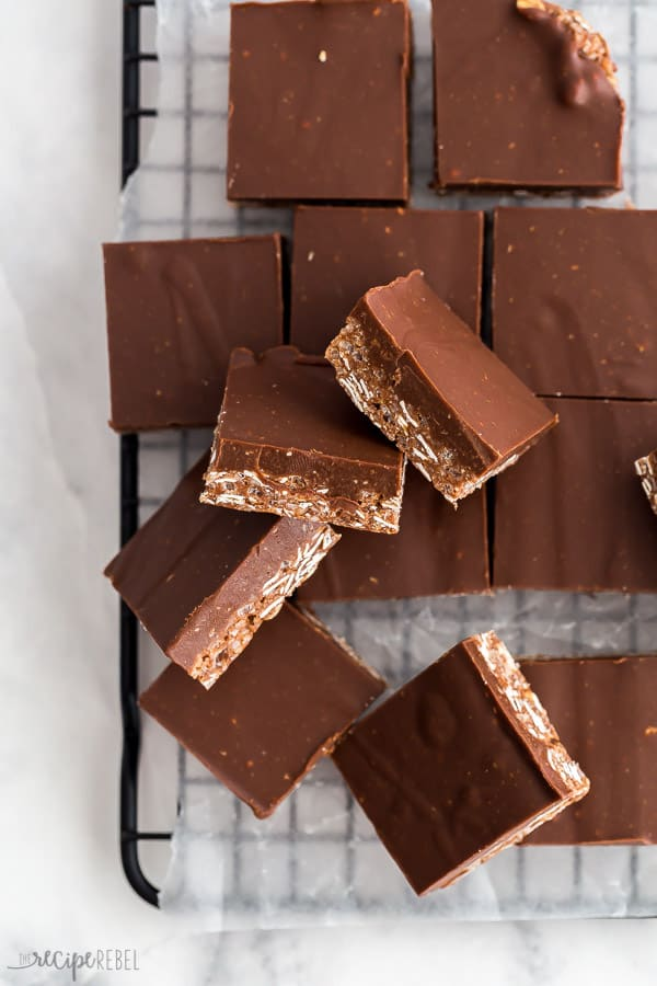 crunch bars cut into squares on baking rack overhead